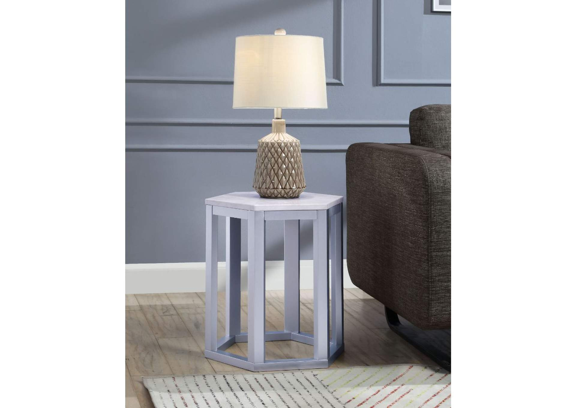 Reon Marble & Silver Accent Table,Acme