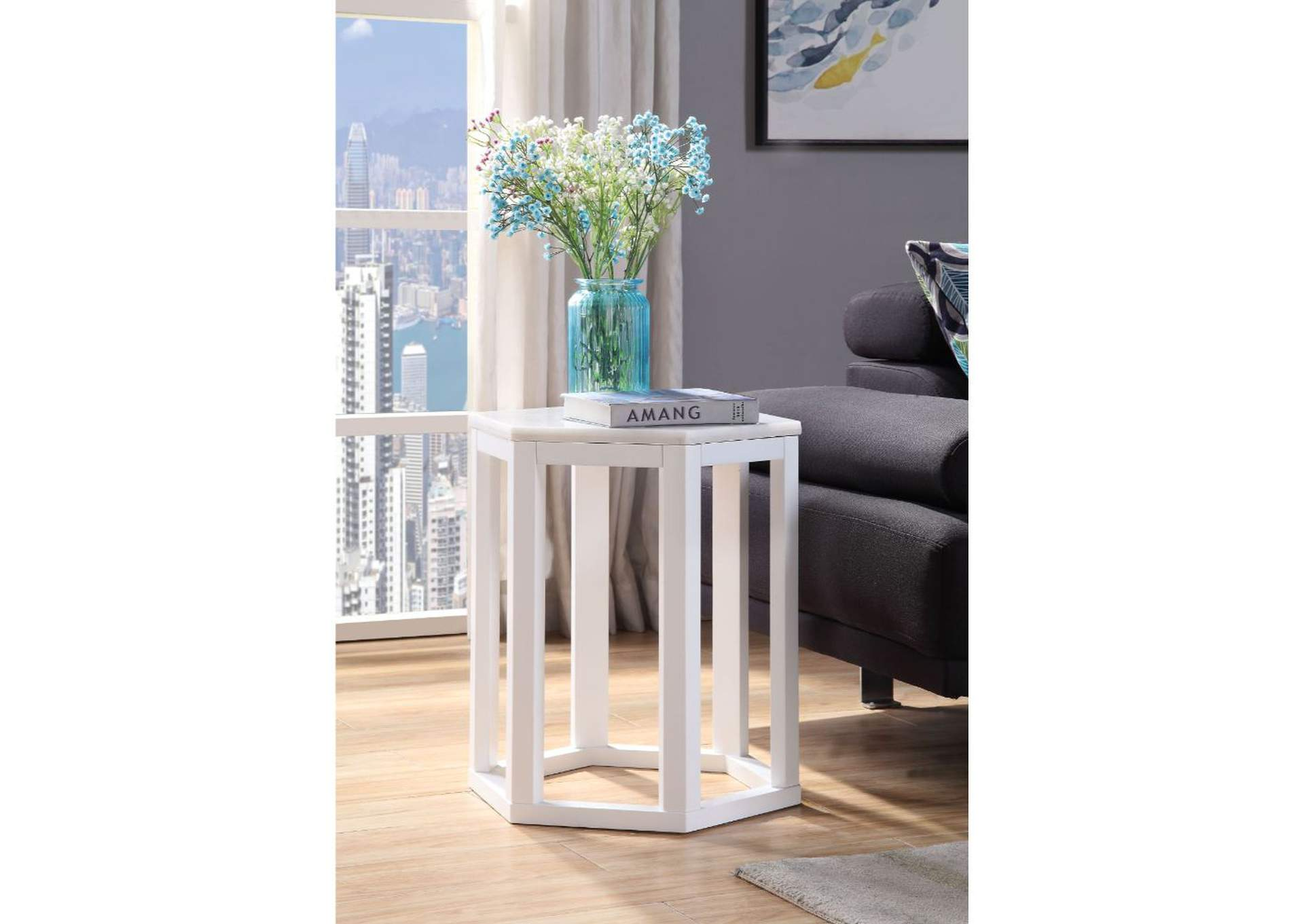 Reon Marble & White Accent Table,Acme