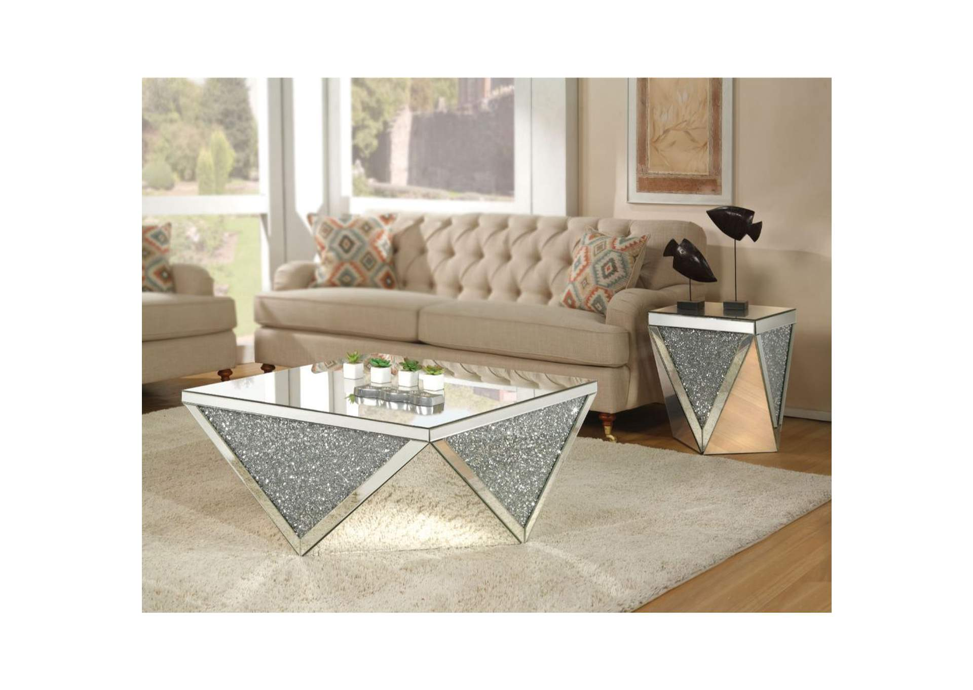 Noralie Mirrored & Faux Diamonds Coffee Table,Acme