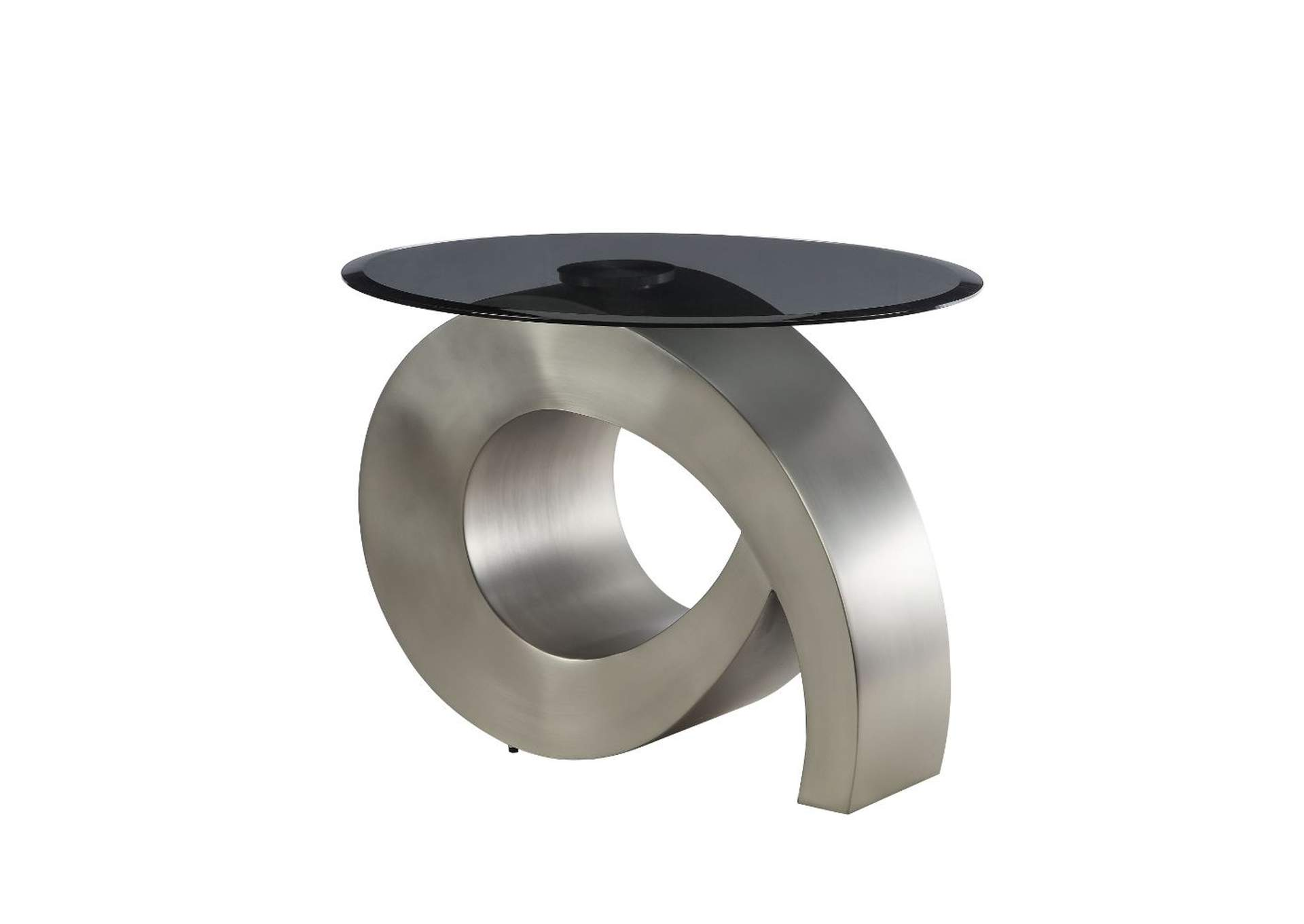 Viggo Satin Plated & Smoky Glass End Table,Acme