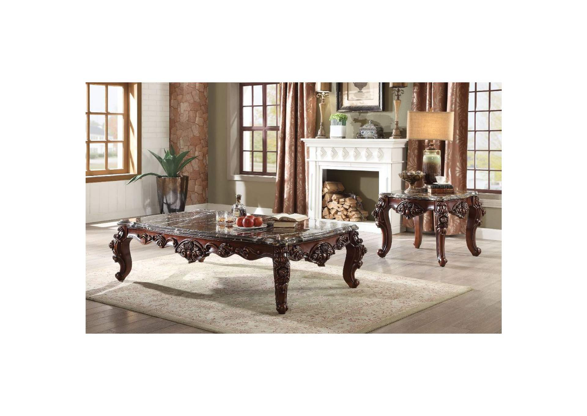 Forsythia Marble & Walnut Coffee Table,Acme