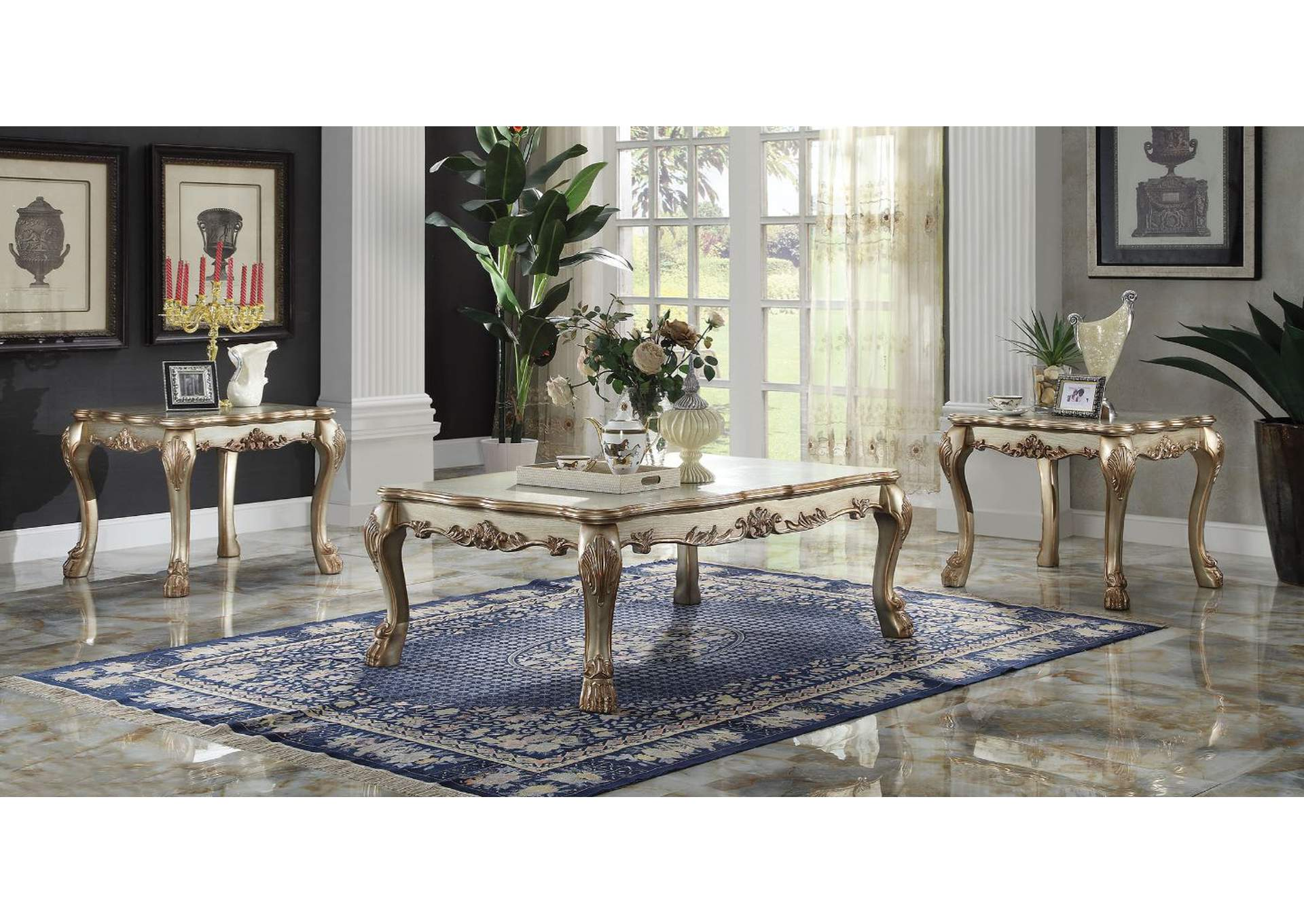 Dresden Gold Patina & Bone Coffee Table,Acme