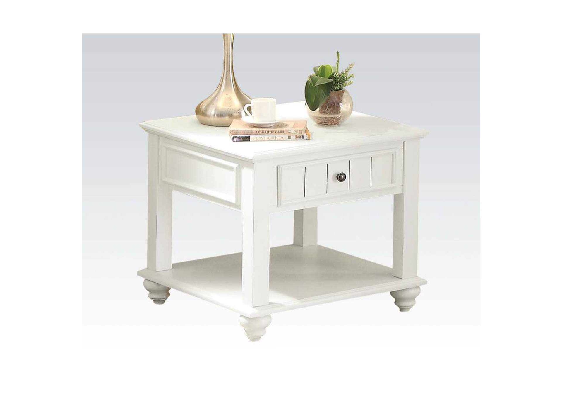Natesa White Washed End Table,Acme