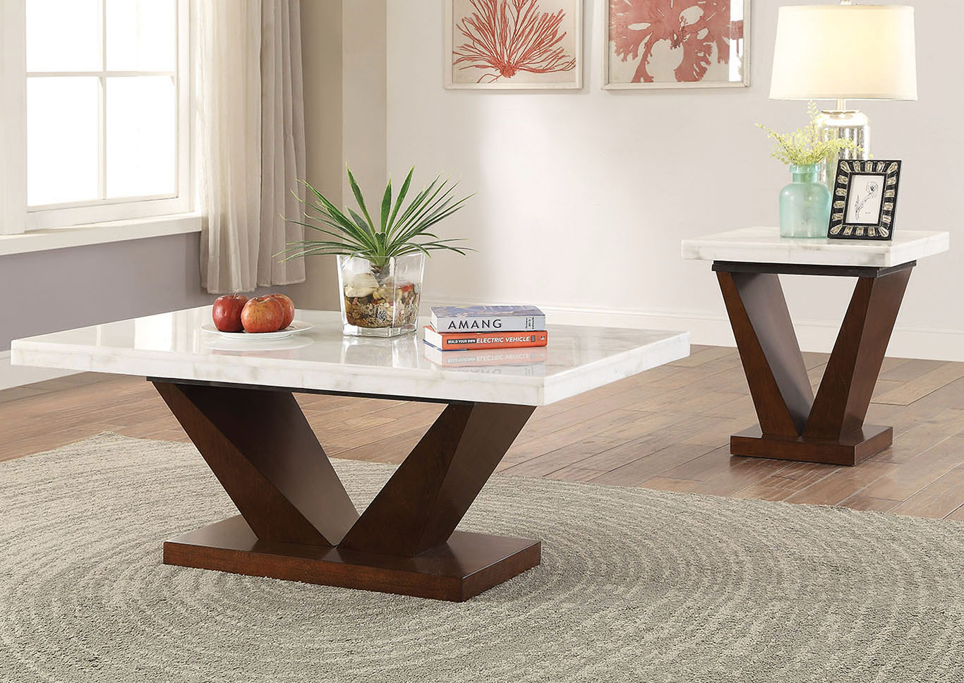 Forbes White Marble/Walnut End Table,Acme