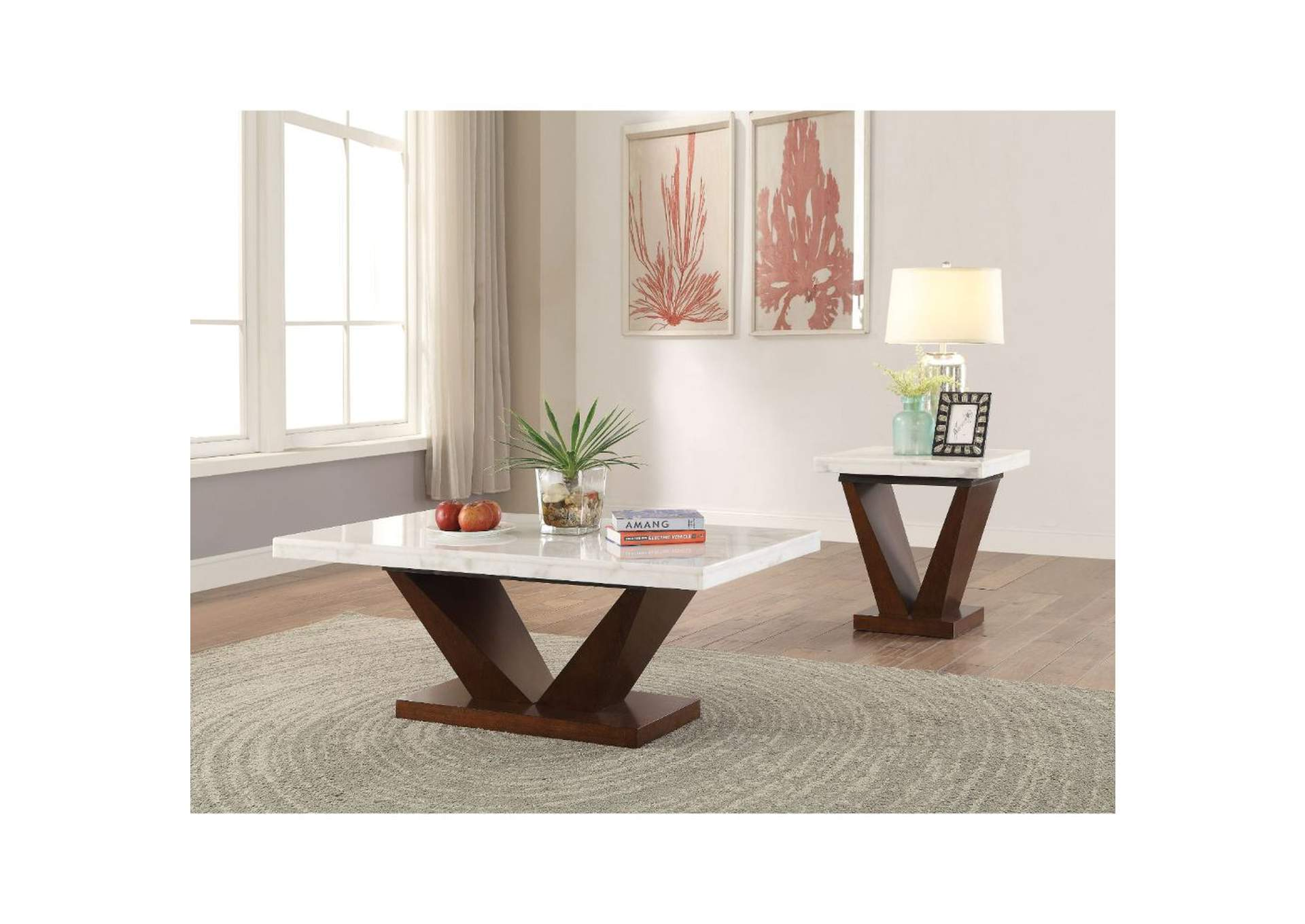 Forbes White Marble & Walnut Coffee Table,Acme
