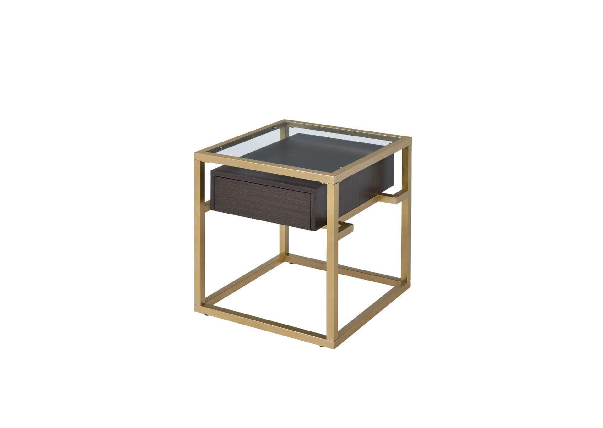 Yumia Gold & Clear Glass End Table,Acme