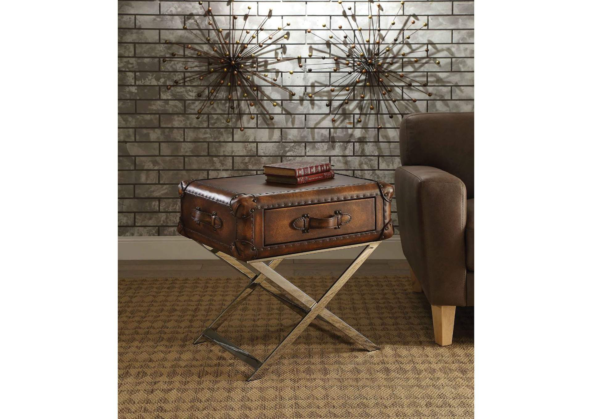 Aberdeen Vintage Mocha Top Grain Leather End Table,Acme