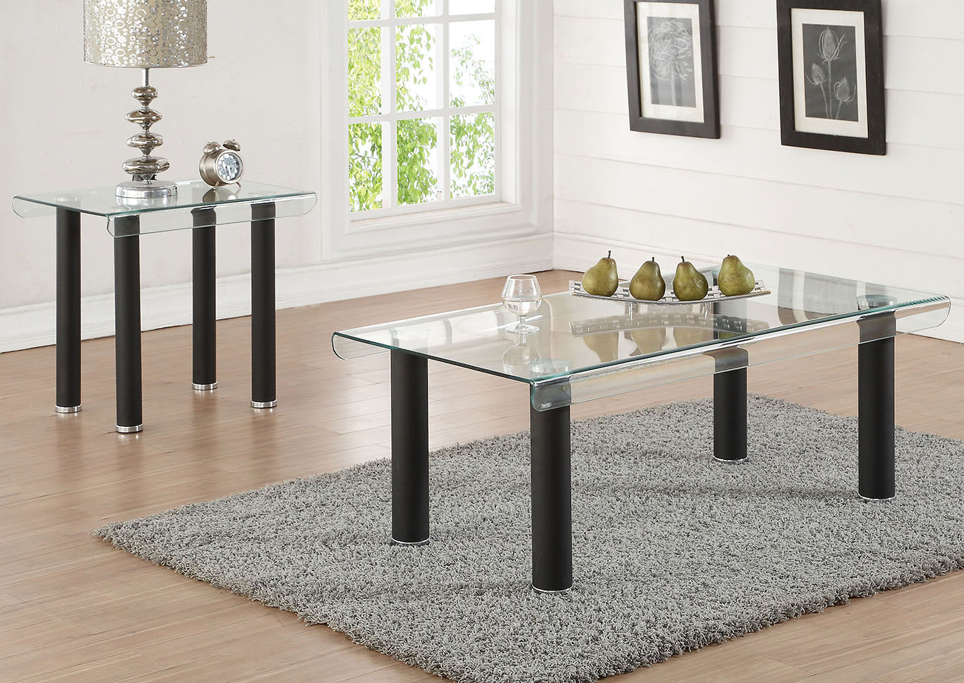 Picture of: Gordie Black Clear Glass Coffee Table Florissant Furniture