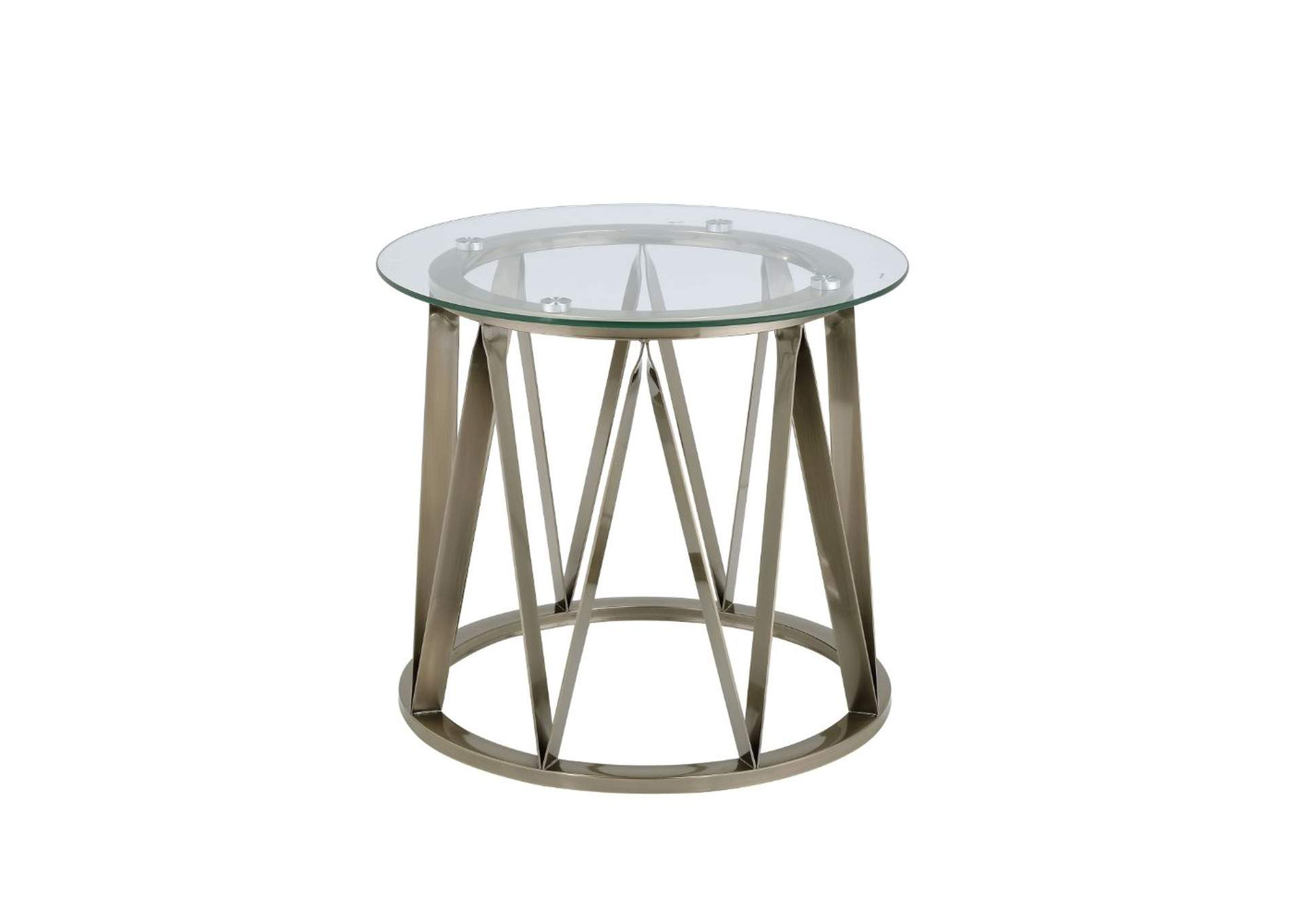 Perjan Antique Brass & Clear Glass End Table,Acme