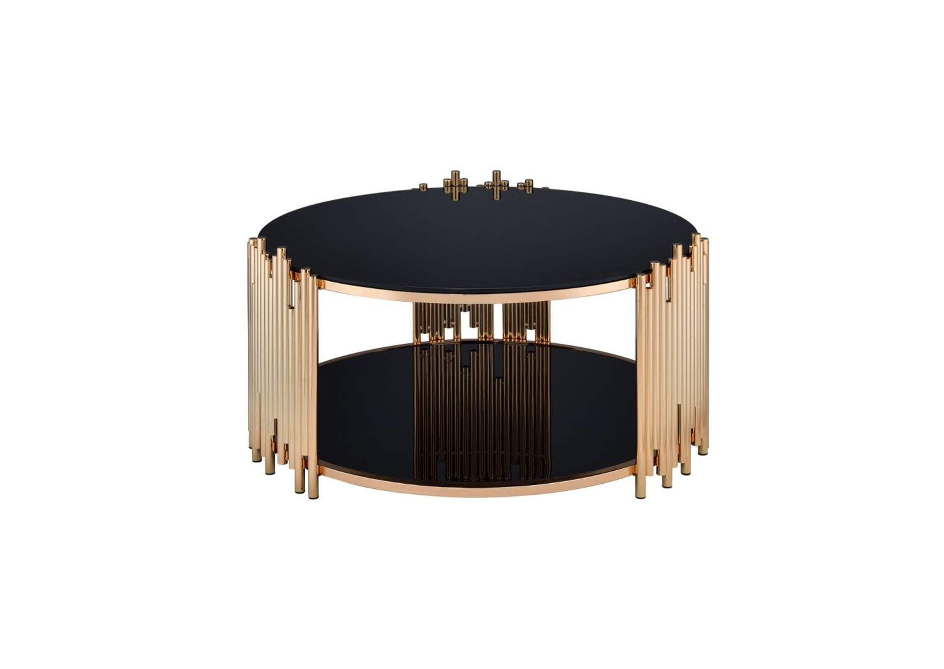 Tanquin Gold & Black Glass Coffee Table,Acme