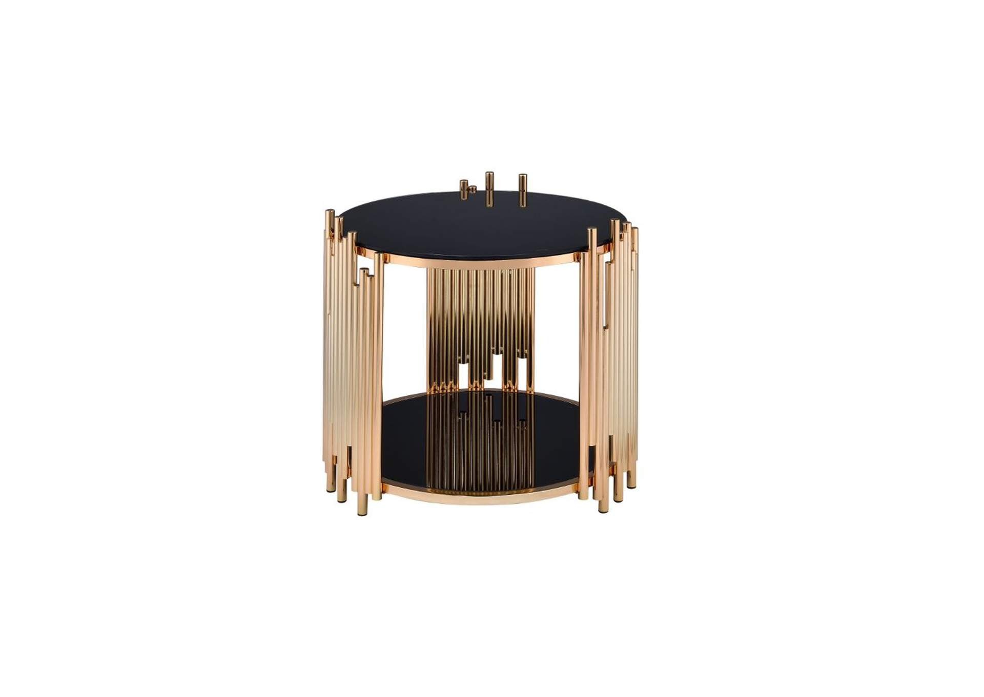 Tanquin Gold & Black Glass End Table,Acme