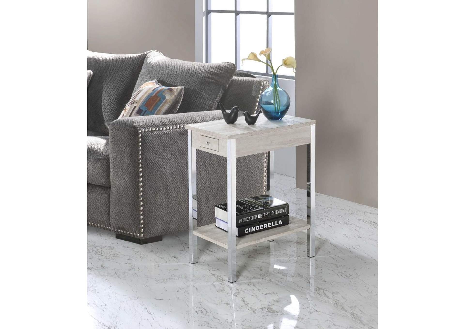 Philo Natural & Chrome Accent Table,Acme