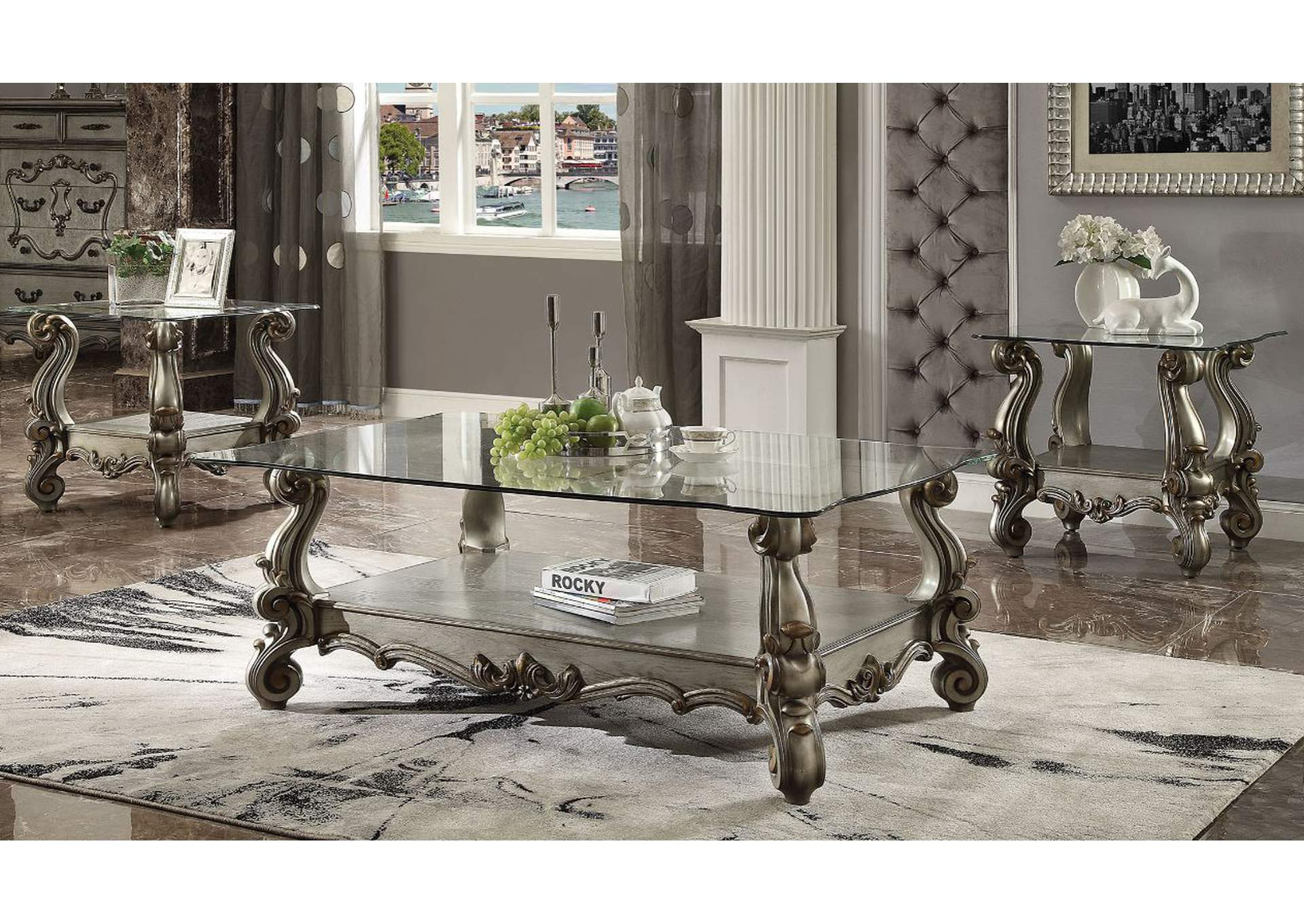 Versailles Antique Platinum & Clear Glass Coffee Table,Acme