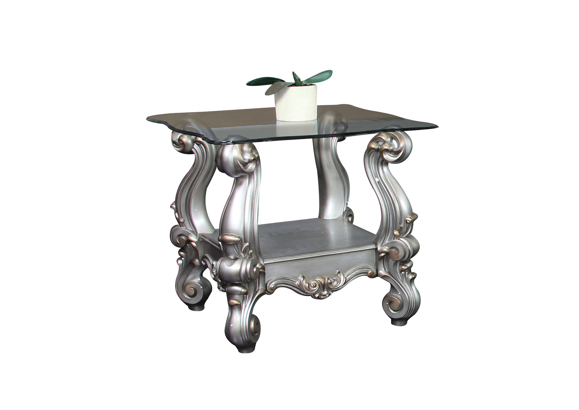 Versailles Antique Platinum & Clear Glass End Table,Acme