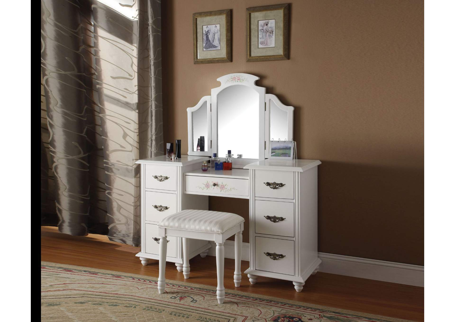 Torian White Vanity Desk w/Mirror and Stool,Acme