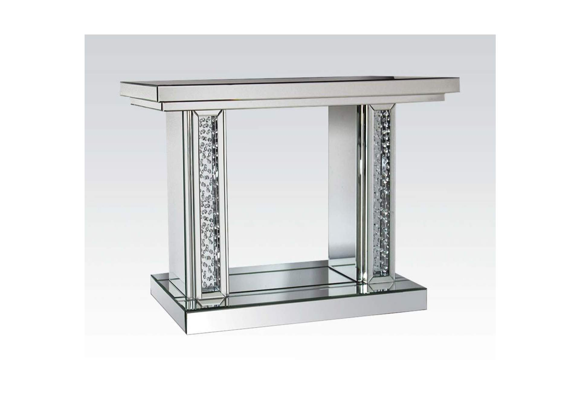Nysa Mirrored & Faux Crystals Accent Table,Acme