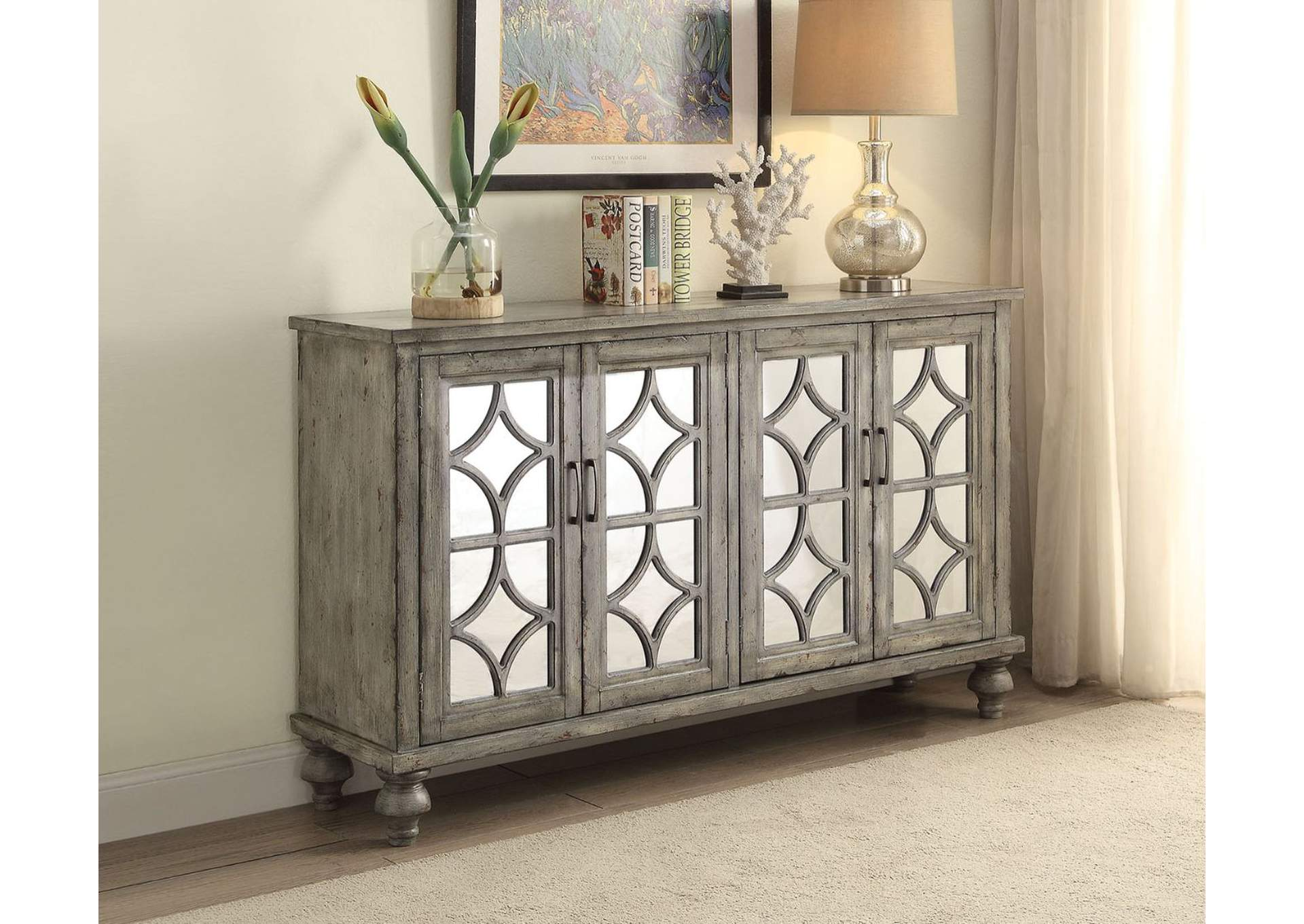 Velika Weathered Gray Accent Table,Acme