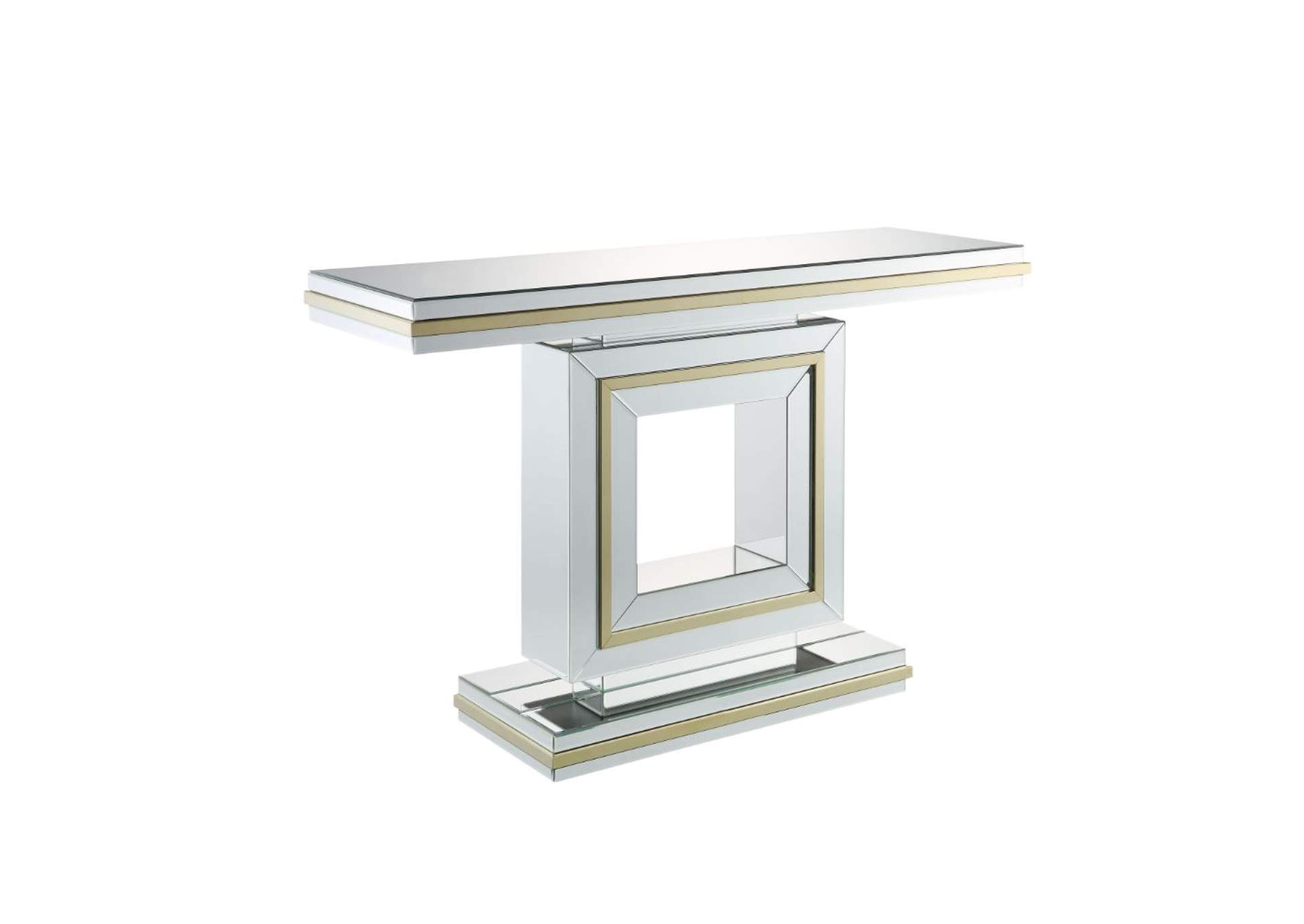 Osma Mirrored & Gold Accent Table,Acme
