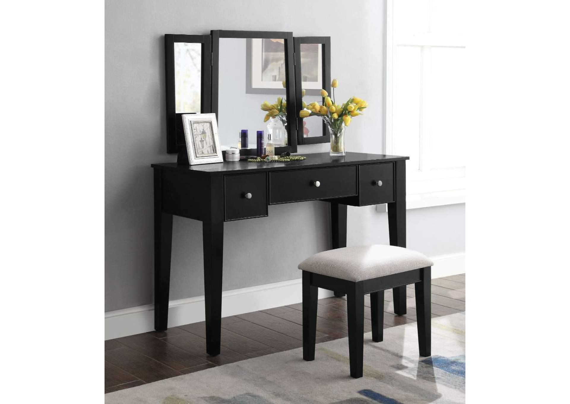 Severus Tan Fabric & Black Vanity Desk,Acme