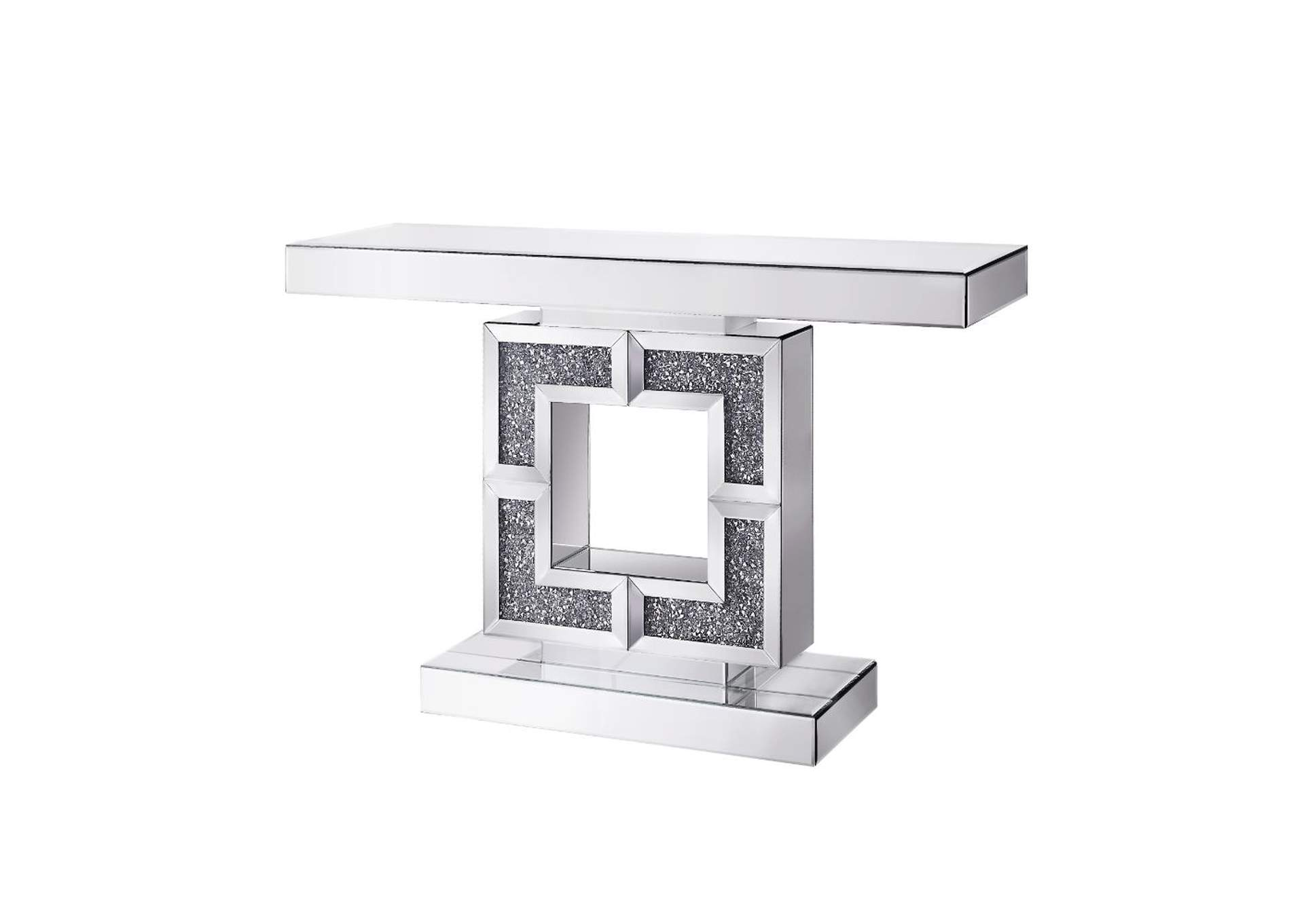 Noralie Mirrored & Faux Diamonds Accent Table,Acme