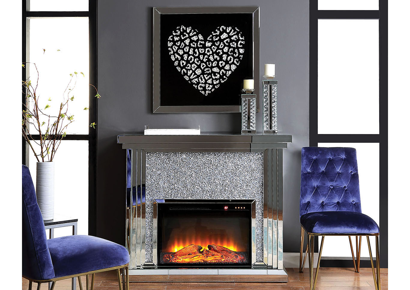 Noralie Black Fireplace,Acme