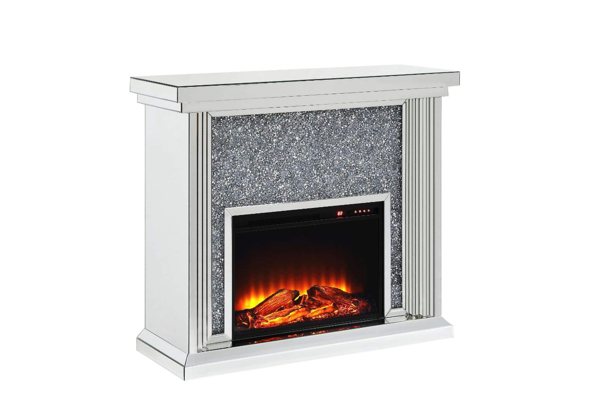 Noralie Mirrored & Faux Diamonds Fireplace,Acme