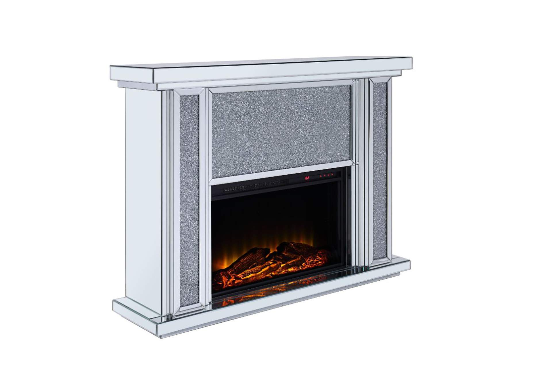 Nowles Mirrored & Faux Stones Fireplace,Acme