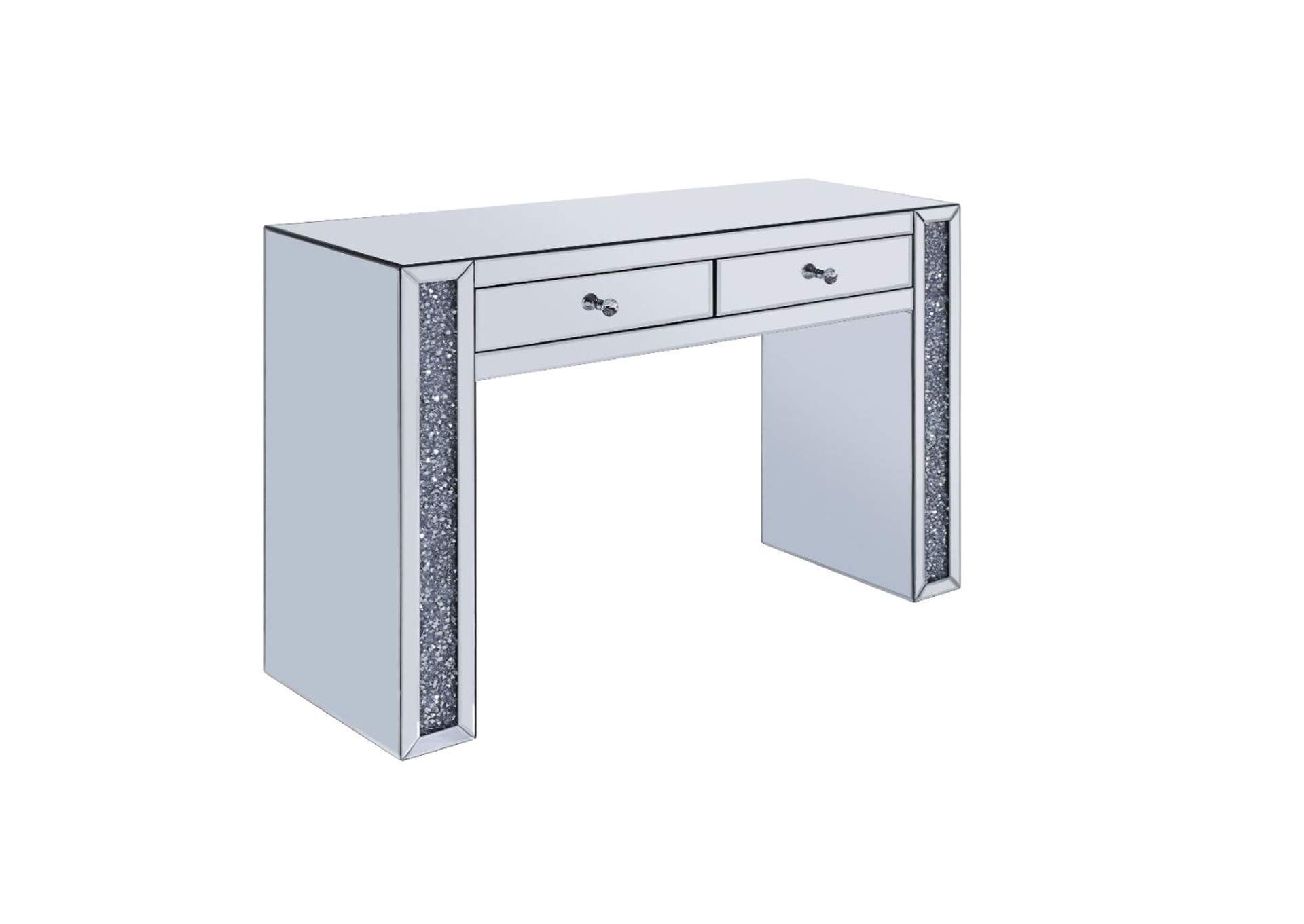 Noralie Mirrored & Faux Diamonds Vanity Desk,Acme