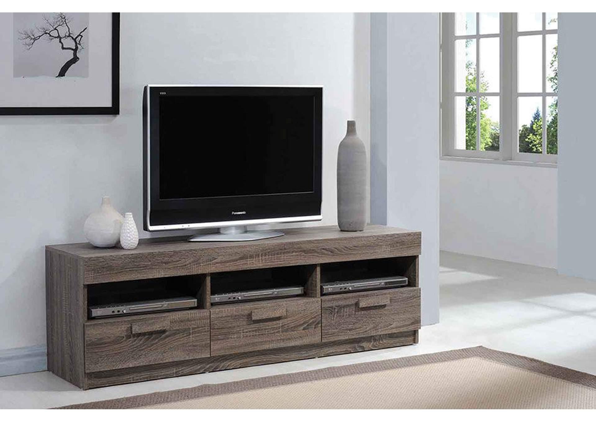 Alvin Rustic Oak TV Stand,Acme
