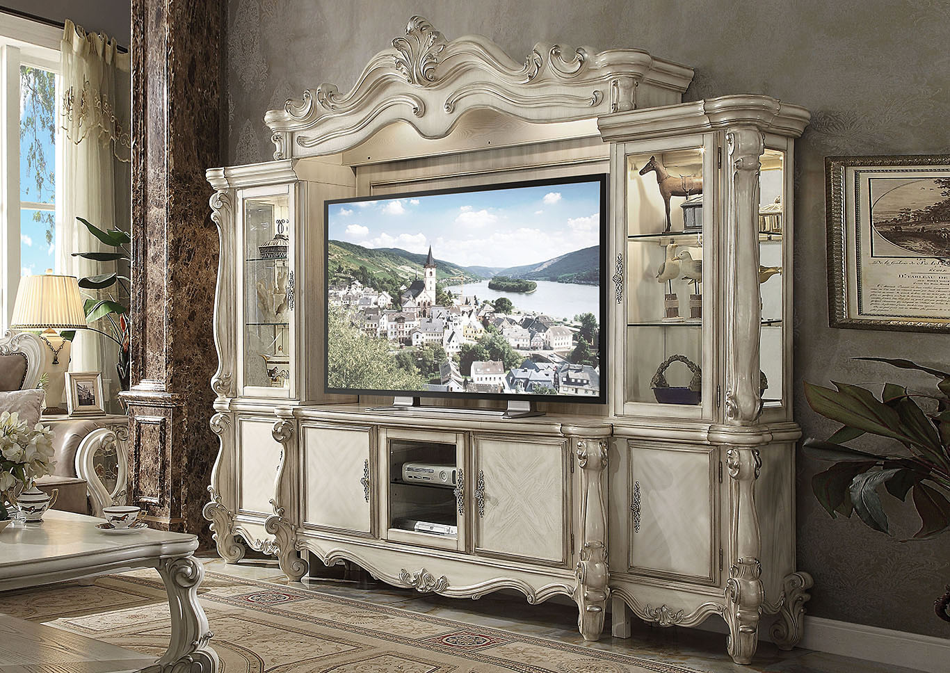 Versailles Bone White TV Stand,Acme