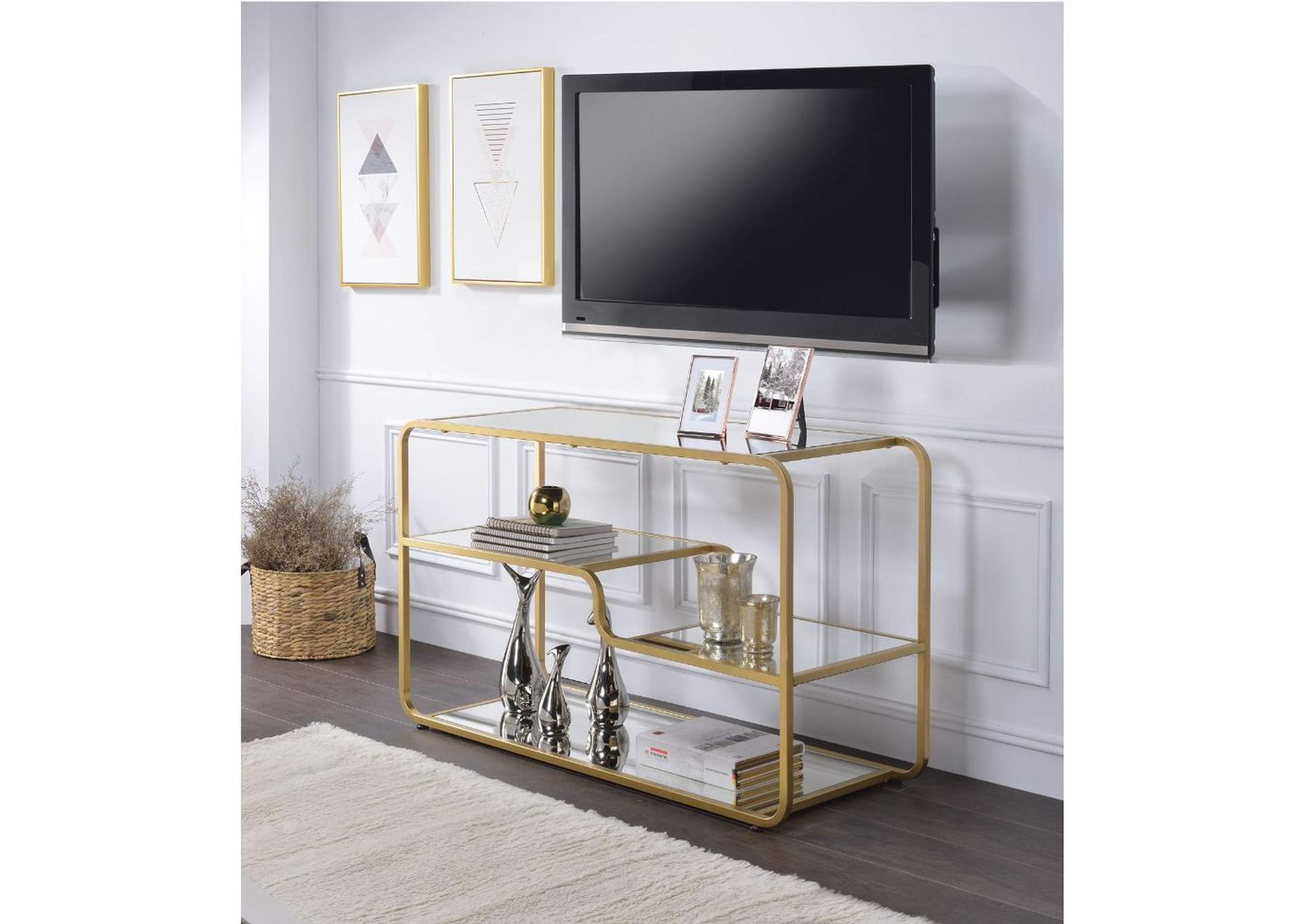 Astrid Gold/Mirror TV Stand,Acme