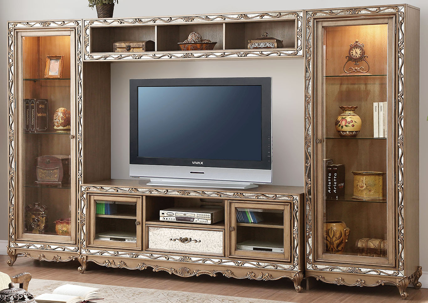Orianne Gold finish Entertainment Center,Acme