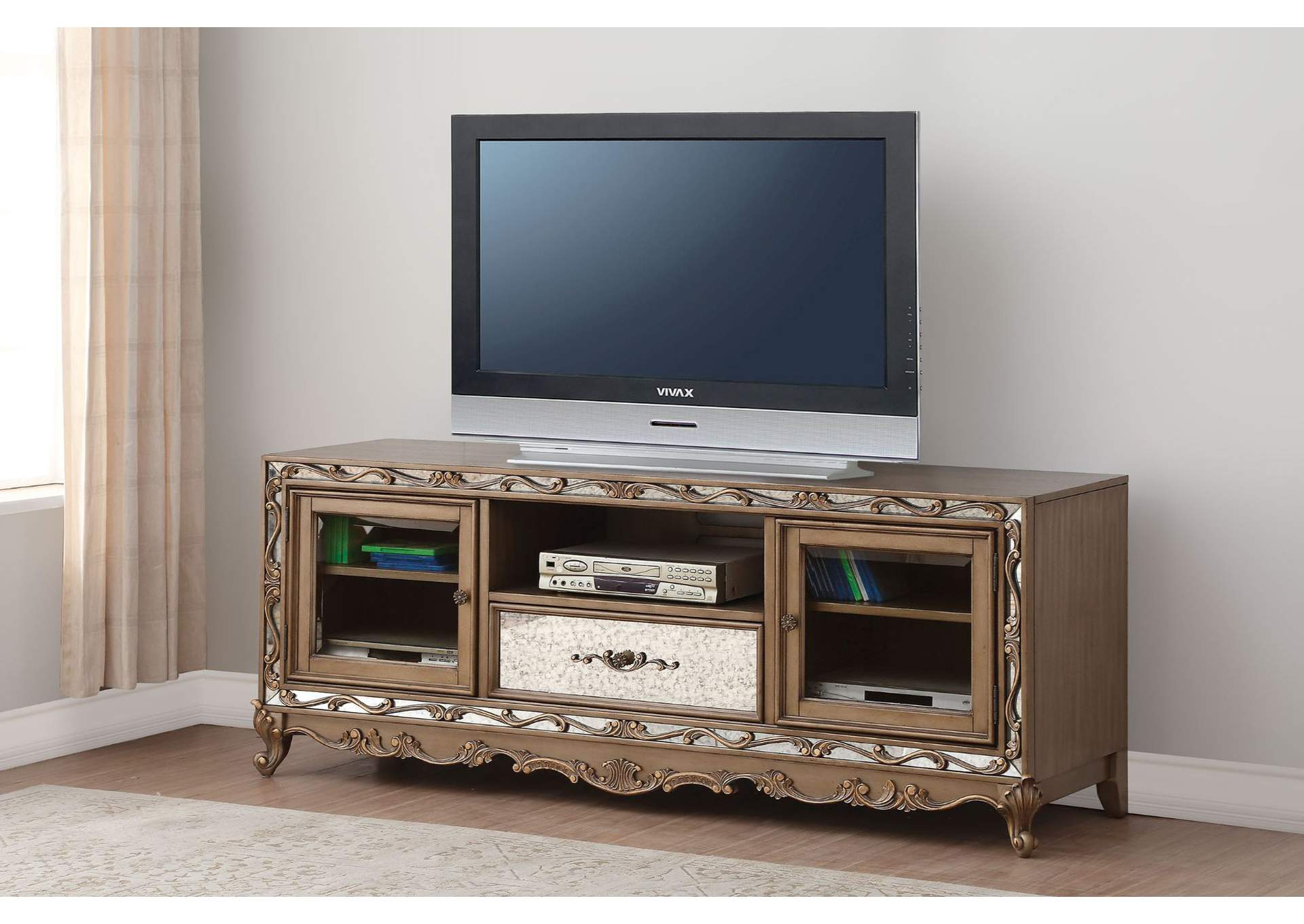Orianne Antique Gold TV Stand,Acme