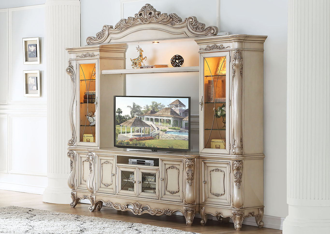 Gorsedd Antique White TV Stand,Acme
