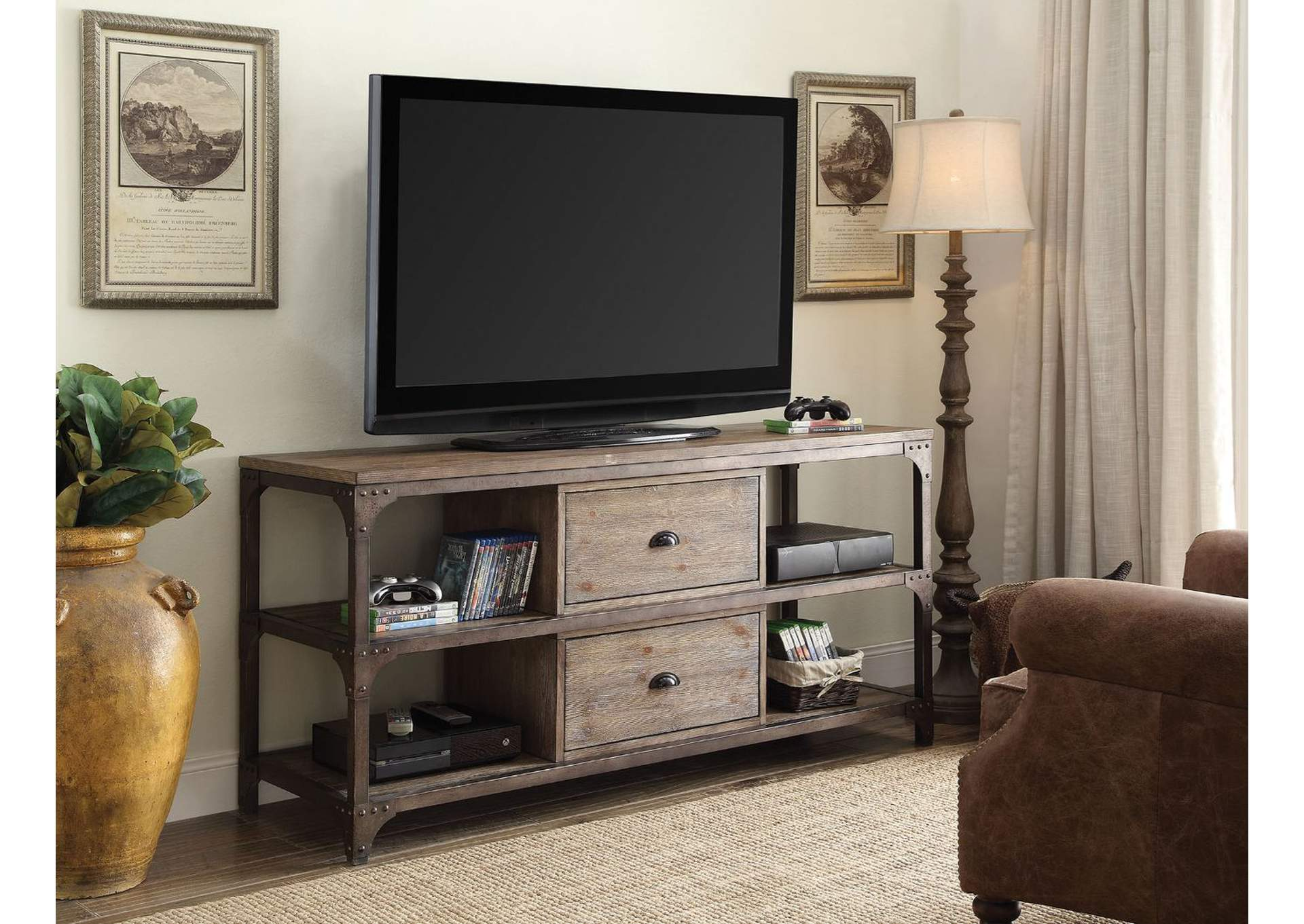Gorden Oak/Silver TV Stand,Acme