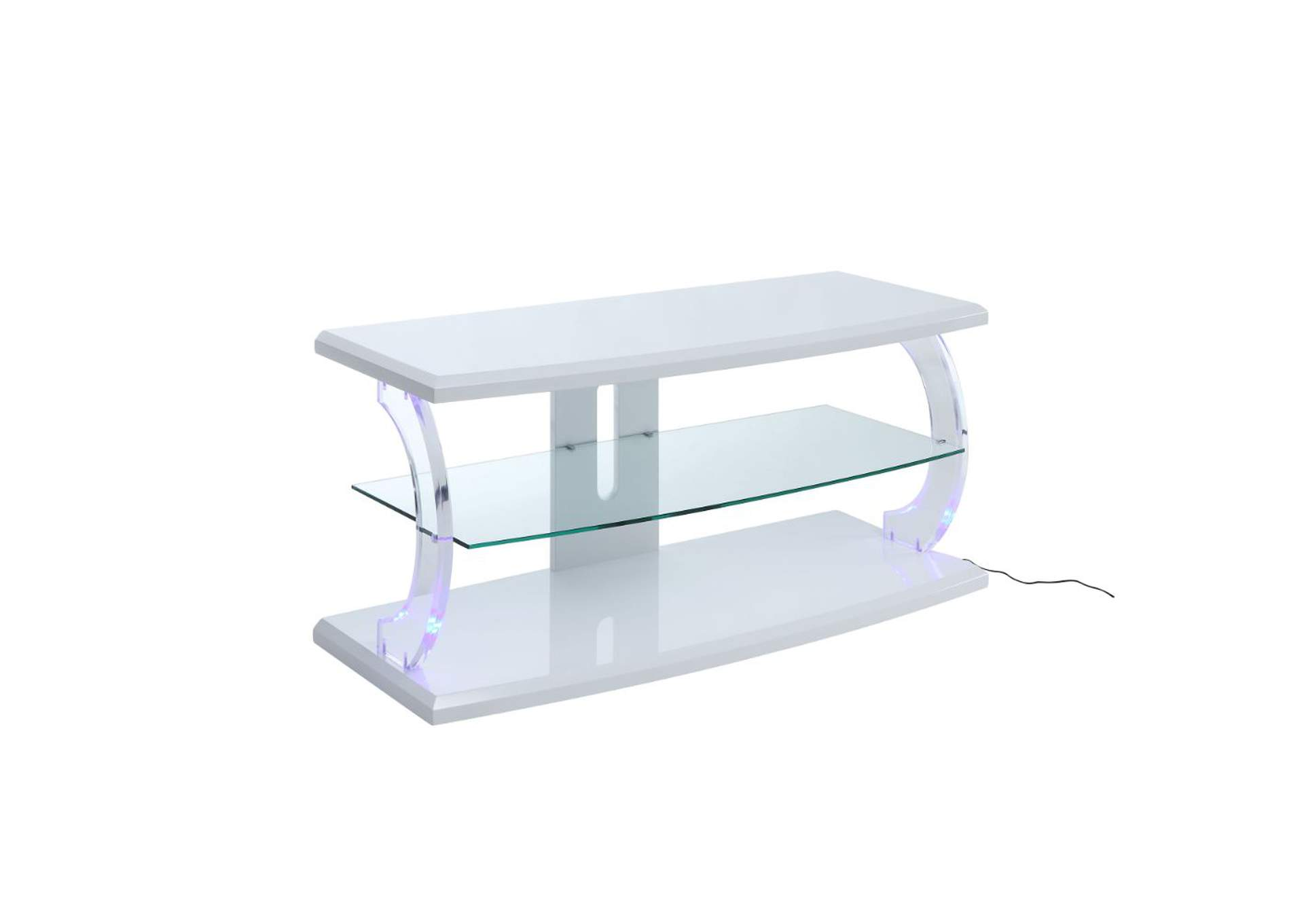 Aileen White & Clear Glass TV Stand
