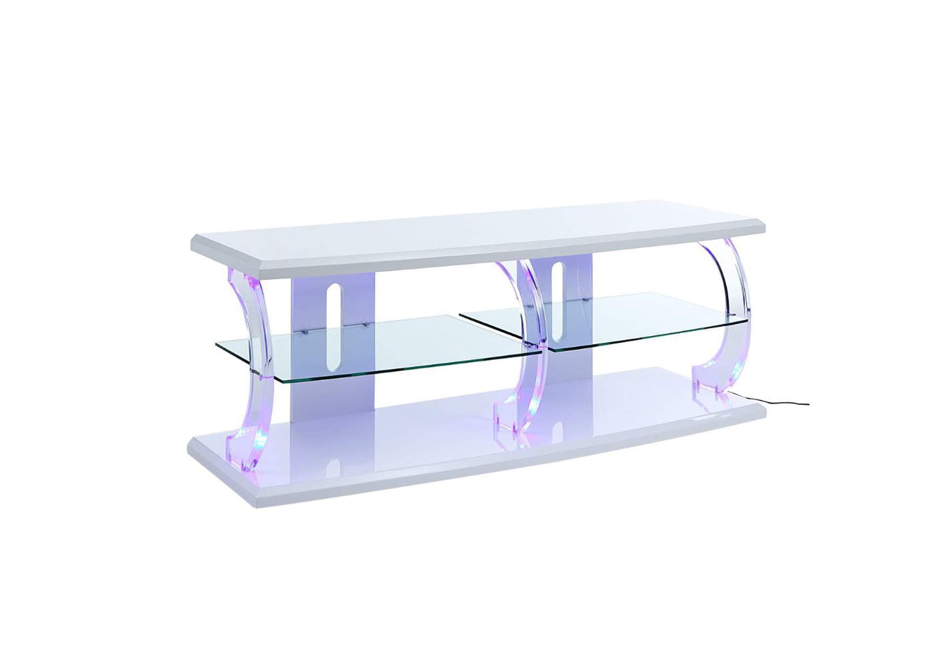 Aileen White & Clear Glass TV Stand,Acme