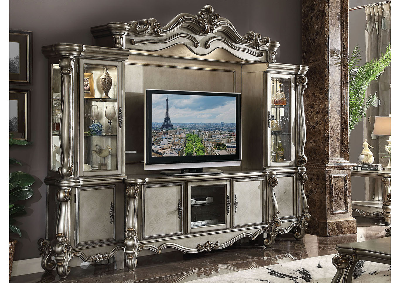 Versailles Antique Platinum TV Stand,Acme
