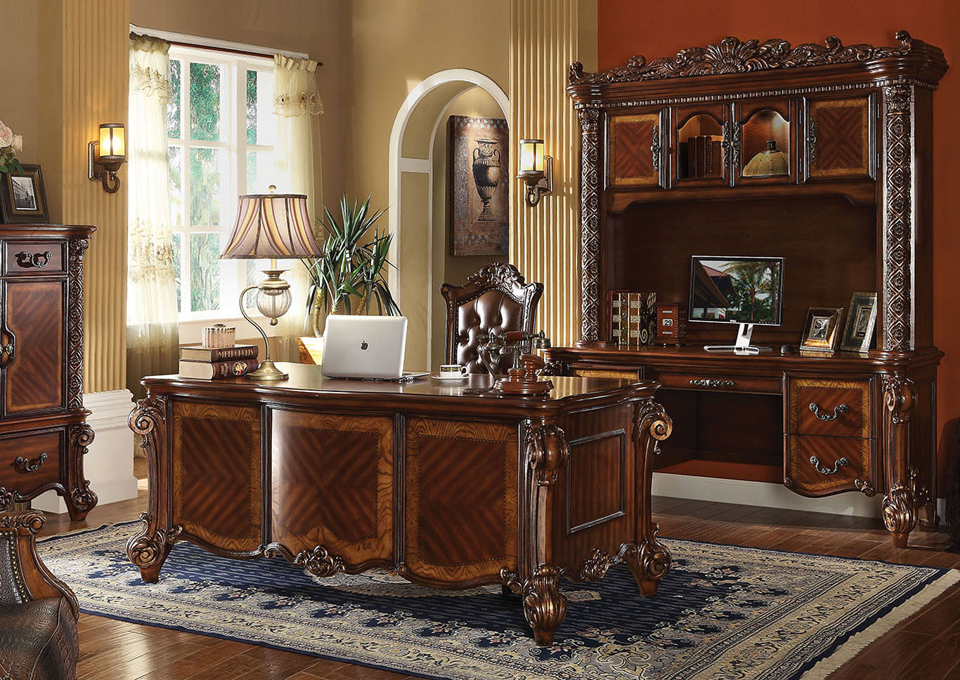 Vendome Cherry Computer Desk and Hutch,Acme