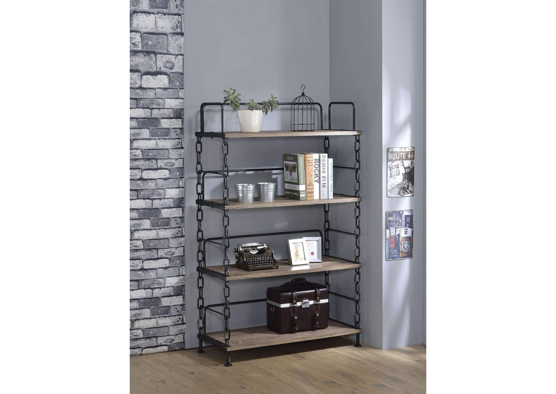 Jodie Rustic Oak/Antique Black Bookshelf,Acme