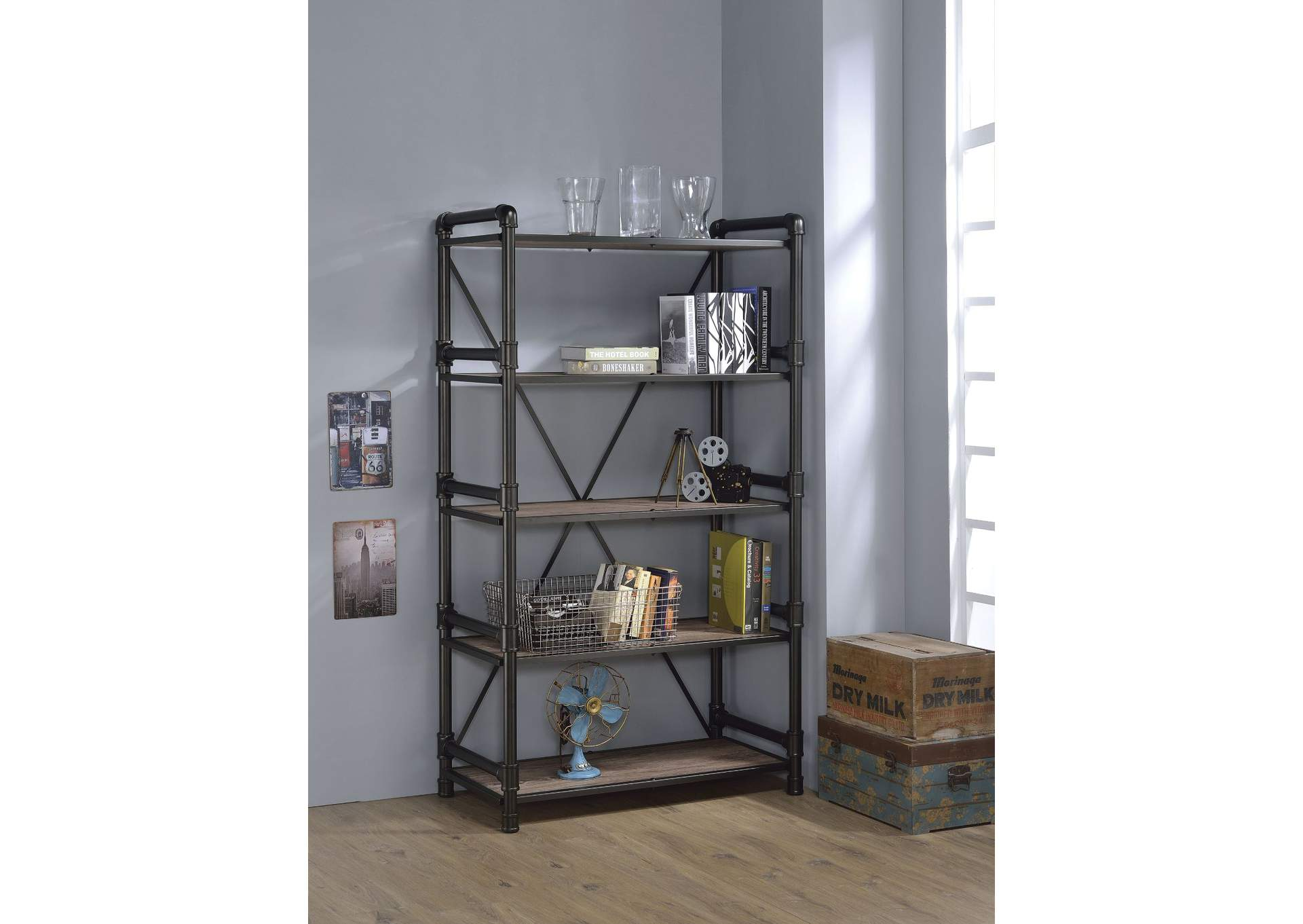 Caitlin Rustic Oak/Black Bookshelf,Acme