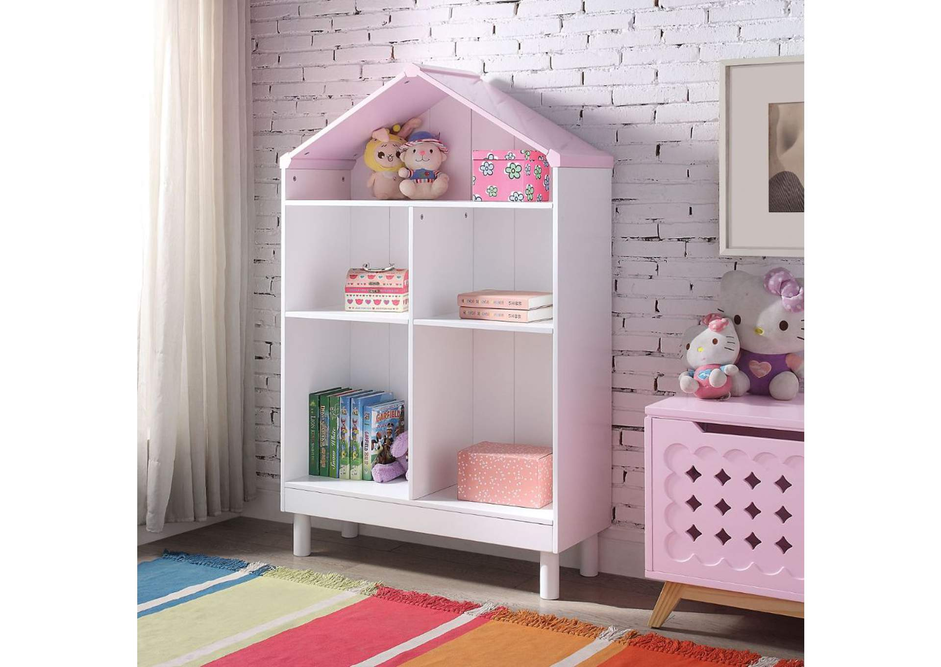 Doll Cottage White & Pink Bookshelf,Acme