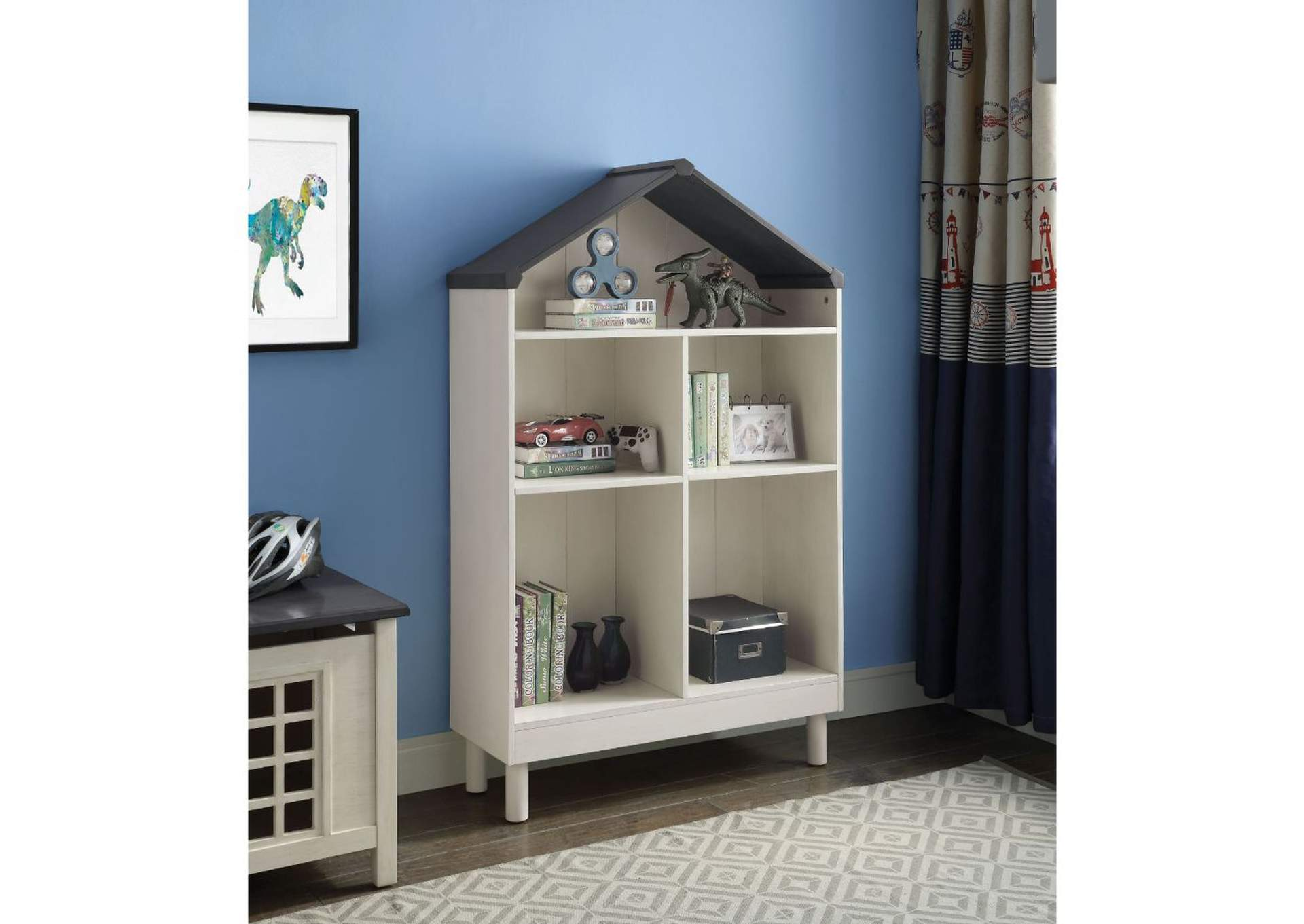 Doll Cottage Weathered White/Washed Gray Bookcase,Acme
