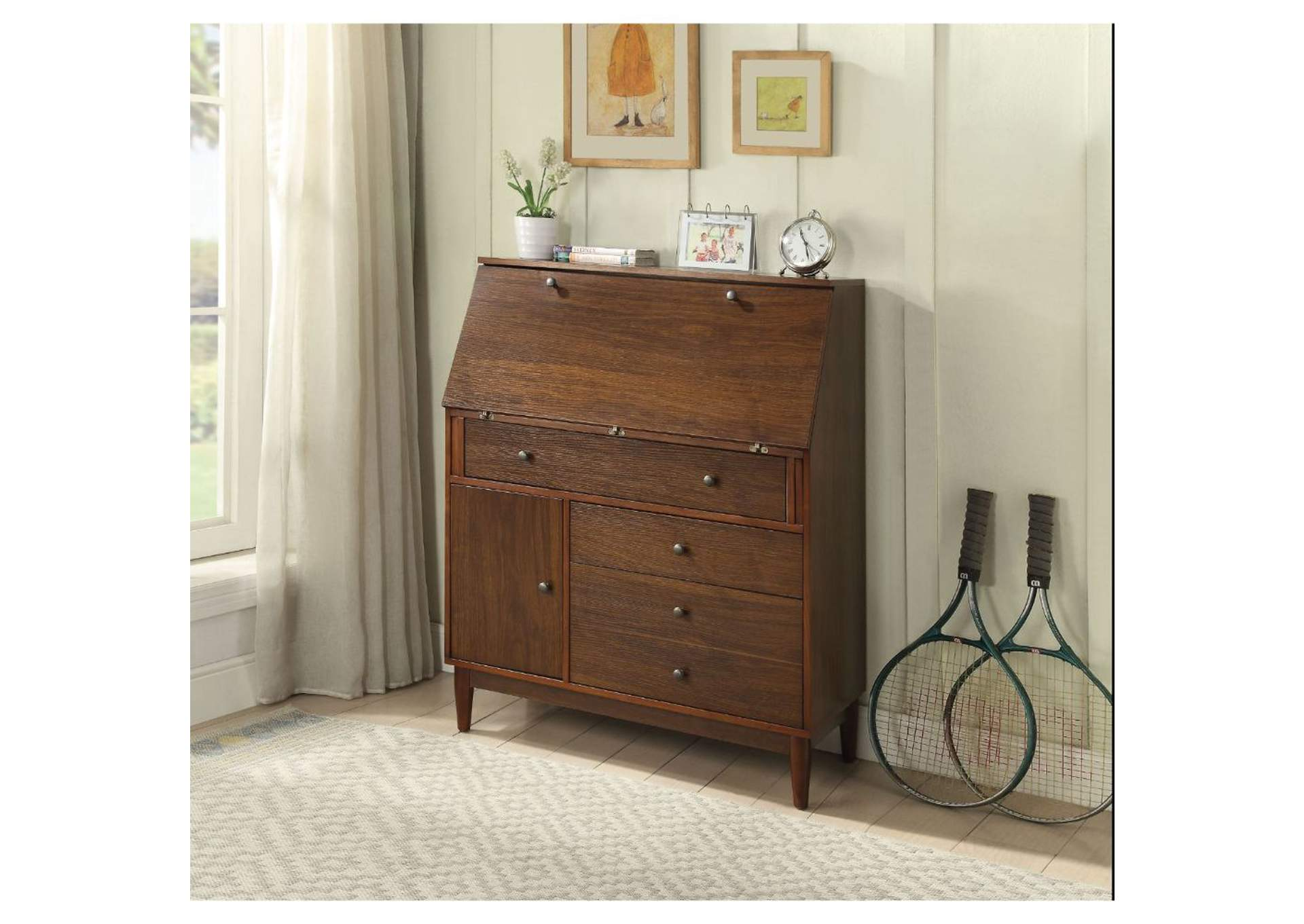 Wyanie Walnut Office Cabinet,Acme
