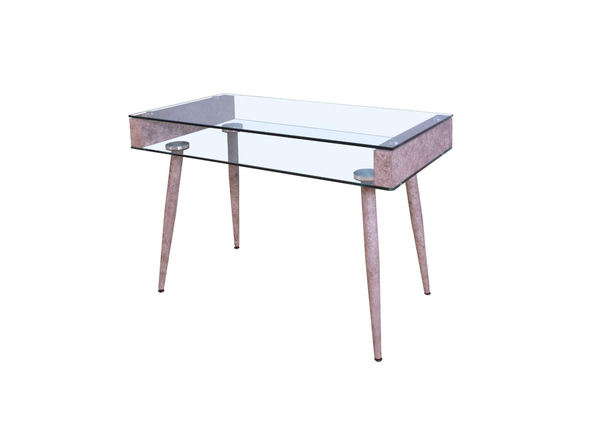Booyd Faux Concrete & Clear Glass Desk,Acme