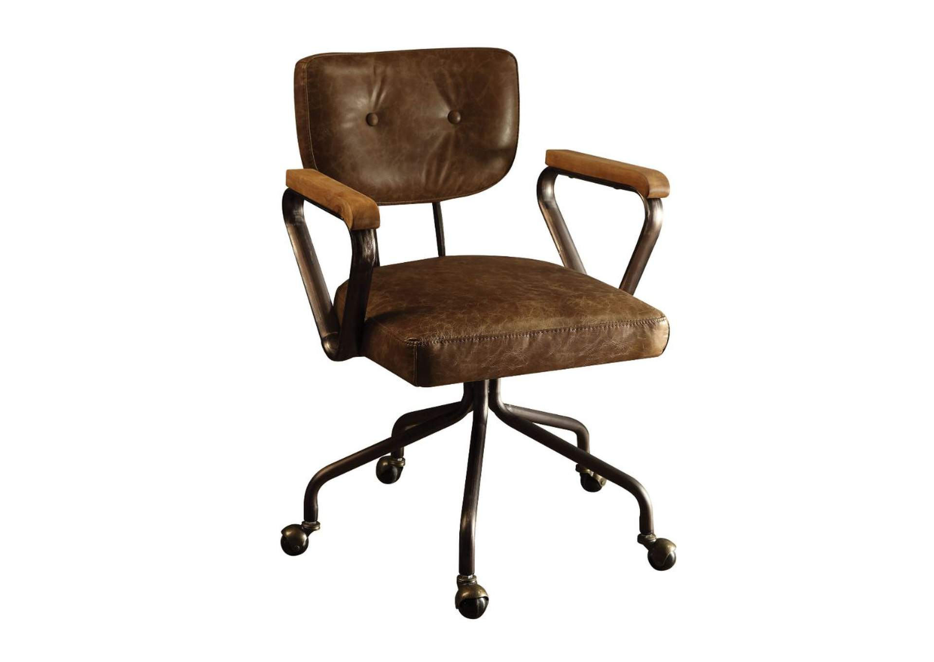 Hallie Vintage Whiskey Top Grain Leather Executive Office Chair,Acme