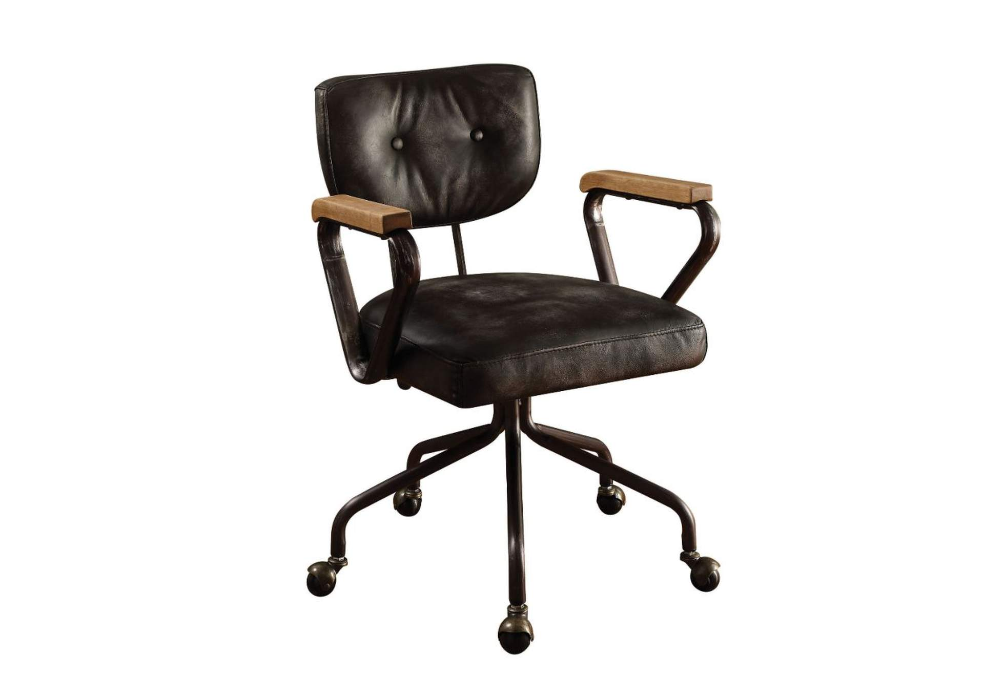 Hallie Vintage Black Top Grain Leather Executive Office Chair,Acme