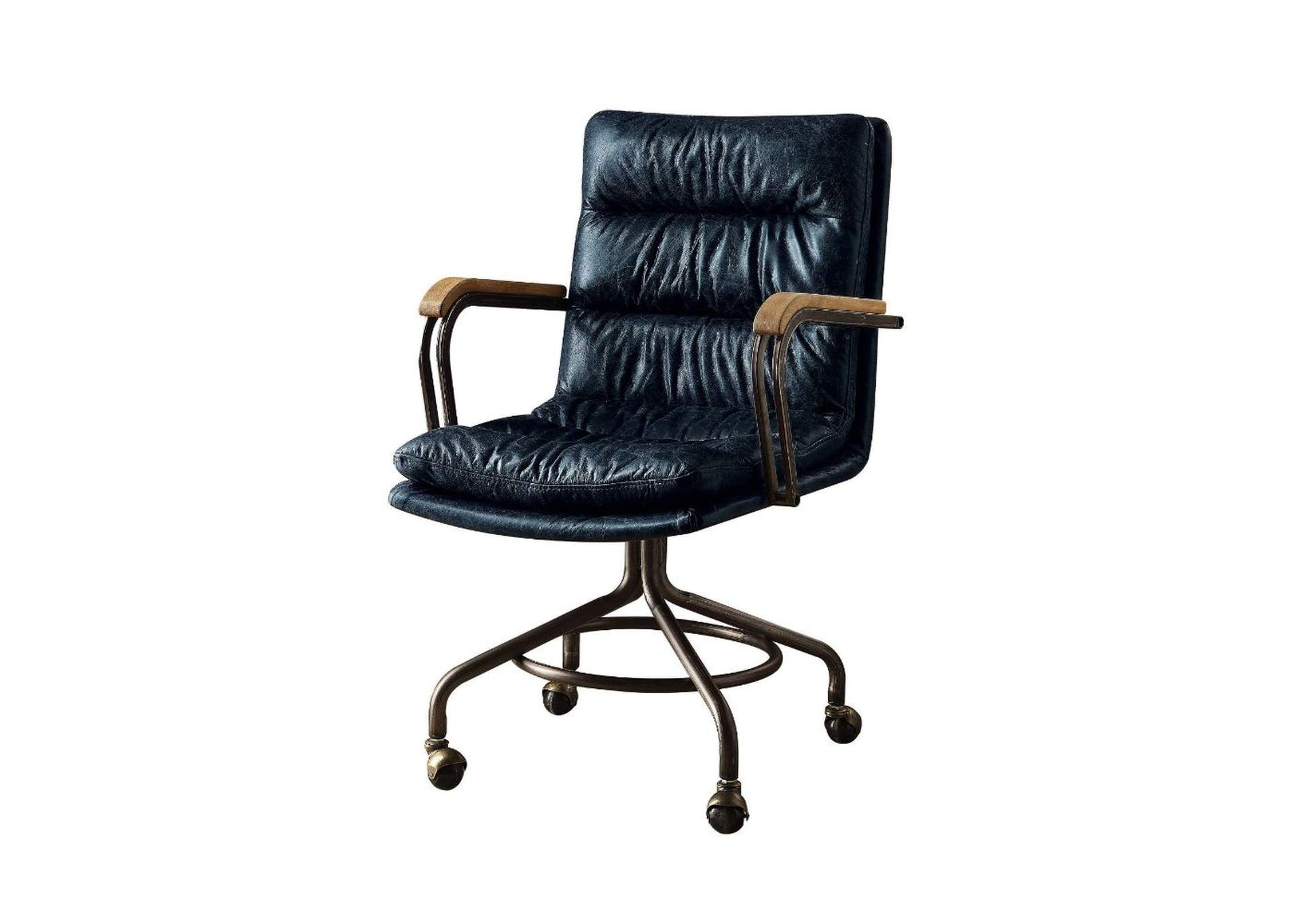 Harith Vintage Blue Top Grain Leather Executive Office Chair,Acme