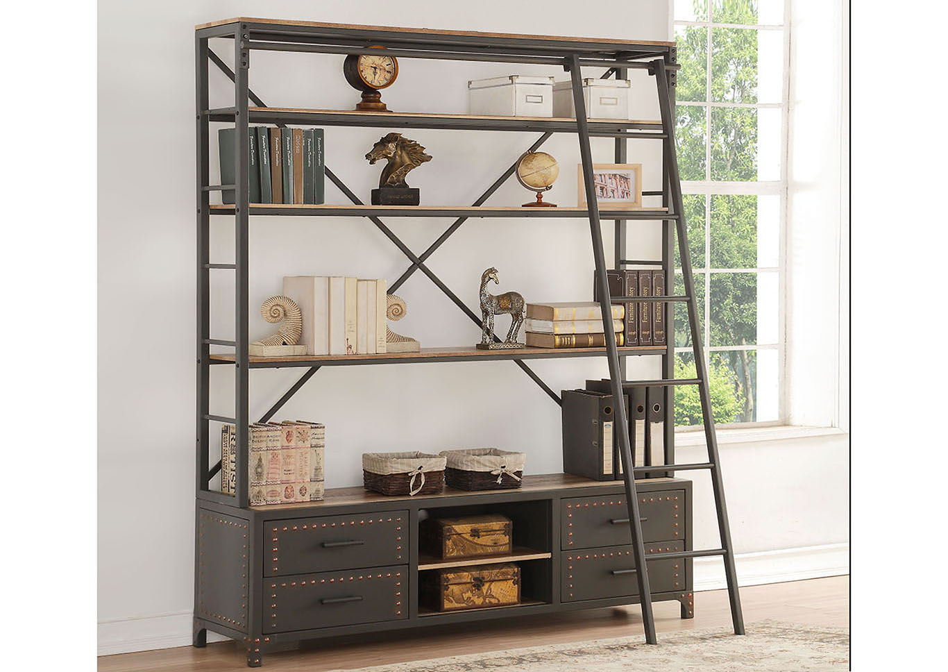 Actaki Black Bookcase,Acme