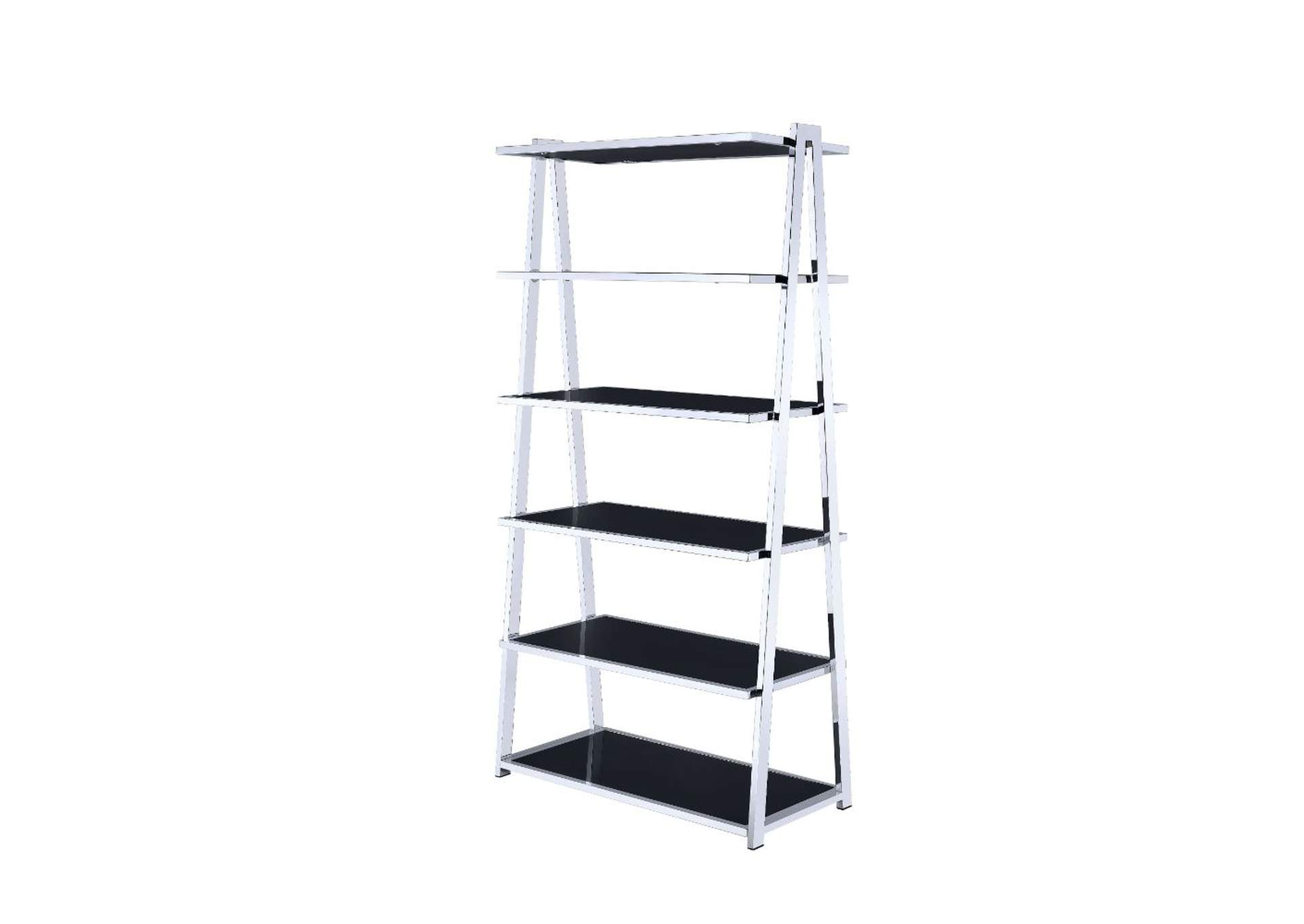 Coleen Black High Gloss & Chrome Bookshelf,Acme